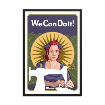 "We Can Do It! Mindy the Mask Maker 24""x36"" framed art poster"