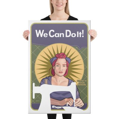 "We Can Do It! Mindy the Mask Maker 24""x36"" Canvas Print"