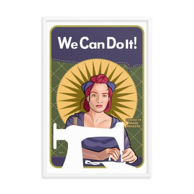 """We Can Do It! Mindy the Mask Maker 24""""x36"""" framed art poster"""